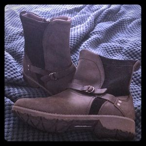 Black waterproof suede ankle boots